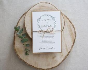 Rustic Foliage Wedding Invitation // Green Leafy Wedding Invitation