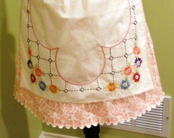 Half Apron - Coral Floral with Embroidered Overskirt