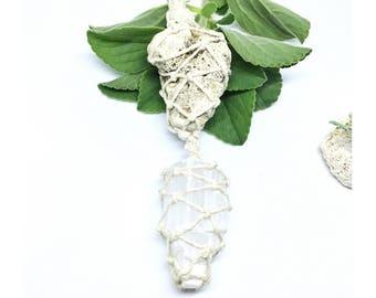 SELENITE TOWER & CORAL - statement piece - handmade, hemp, macrame, healing, crystal necklace