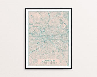 London Blush Pink City Map Print, Clean Contemporary poster fit for Ikea frame 50x70cm, gift art him her, Anniversary personalized