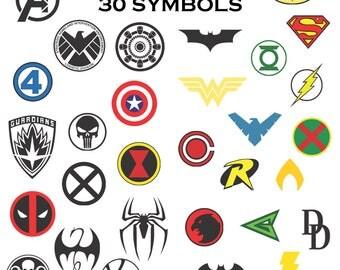 Justice league Avengers SVG files decal clipart cricut superhero logo Wonder Woman Batman Ironman Aquaman Captain America Spiderman cosplay