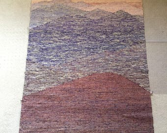 """Textile/Tapestry by artist Sherry Schreiber """"Mountains at Sunset"""""""