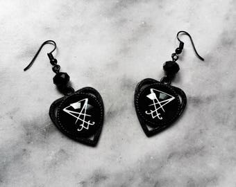 earrings sigil seal lucifer cameo planchette ouija black gothic occult pagan esoteric satan satanic witch witchcraft witchy magic dark