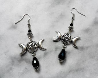 earrings symbol triple moon goddess inverted silver pentagram pentacle gothic wicca pagan occult satanic magic witch witchcraft witchy dark