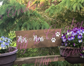His, Hers, Dogs key and leash rack; wooden sign key holder; his and hers wooden sign; key and leash holder