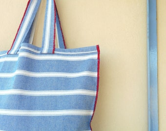 large beach bag , big canvas bag, stripes beach bag , bohemian tote , apparent seams