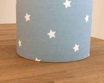 Handmade Lampshade made in Blue Twinkle Star Fabric
