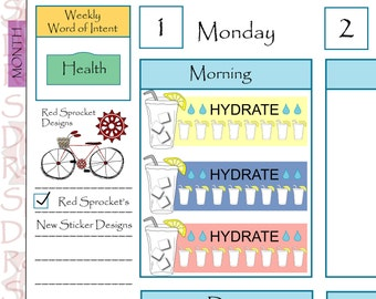 Hydrate - Water Tracker Planner Stickers, Hydrate Planner Stickers, Hydrate Stickers (H01)