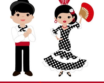Flamenco dancers, girl dressed in flamenco, boy dressed in flamenco, flamenco clipart, flamenco dress with polka dots.