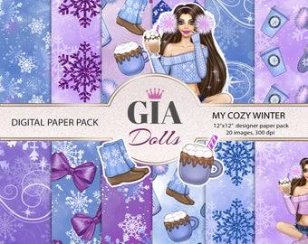 Winter digital paper pack, winter paper pack, winter girl paper,sweater paper,snowflakes paper,winter clipart,pearlsparis