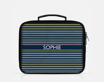 Striped Lunch Box, Personalized Lunch Box, Stripes Lunch Box, Preppy Lunch Box, Cute Lunch Box, Monogrammed Lunchbox, Lunchboxes
