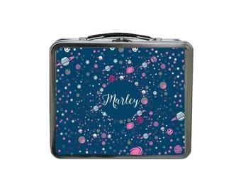 Monogram Lunch Box, METAL Lunch Box, Lunch Box for Kids, Space Lunch Box, Galaxy Lunch Box, Tin Lunch Box Personalized, Blue Lunch Box,
