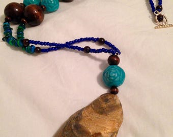 Blue, Green, Teal Oyster Necklace