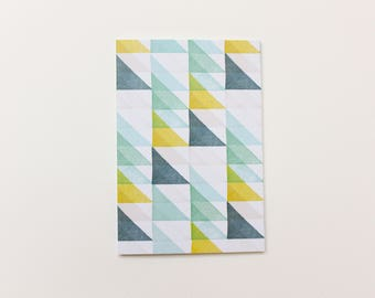 Notebook A6 Geometric Dotted Paper Blue Lime Green Aqua