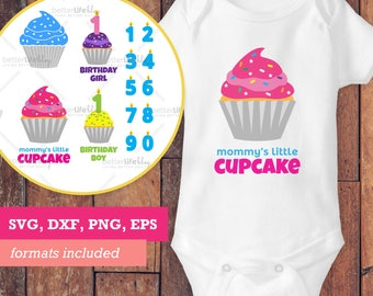 Birthday Cupcake SVG File PACK for Girls Boys Silhouette Cameo Cricut Cut Files dxf eps (Commercial Use ALLOWED*) onesies, mugs, wall art
