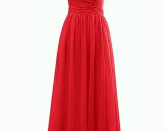 Red Long chiffon bridesmaids dress
