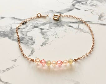 Bracelet chains rose gold 14 carats and  swarovski beads