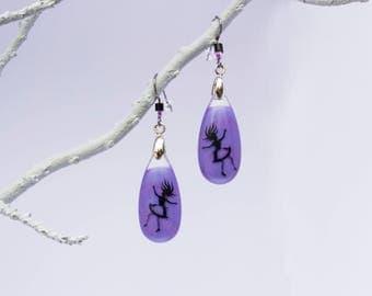 Alice in wonderland, falling, Purple teardrop earrings