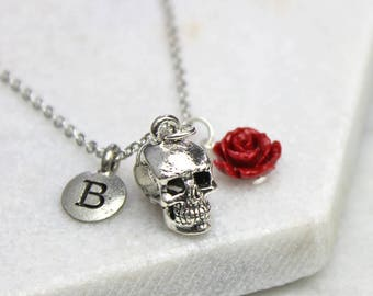 Personalised Skull Necklace with Initial and Rose - 18th Birthday- 21st birthday- Mothers Day- personalised gift - Halloween