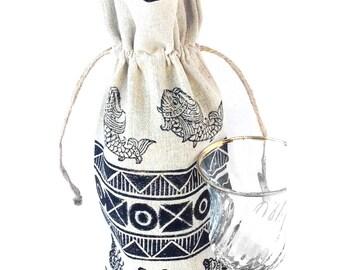 Wine bag Butterfly print Butterfly bag Butterfly gift Gift for wine lover Wine bottle holder Wine gift Wine holder Wine lover gift Wine tote