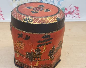 Vintage tin, Scribbans Kemp chocolate table fingers, 1950s Oriental, Asian design.