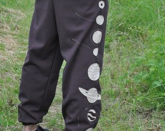 Yoga Astral Galactic Linen Pants 100% Handcrafted Solar System Festival Psytrance Style