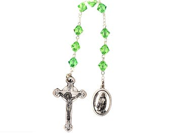 St. Peregrine Chaplet Peridot Green Swarovski Crystal Elements - August (Patron Saint of Cancer Patients)
