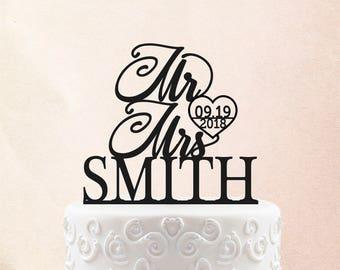 Wedding Cake Topper Custom Cake Toppers Personalized Cake Topper for Wedding, Miss to Mrs Cake Topper ideas Date Cake Topper 13