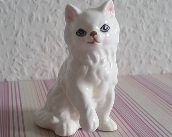Cat white cat ceramic 70s vintage