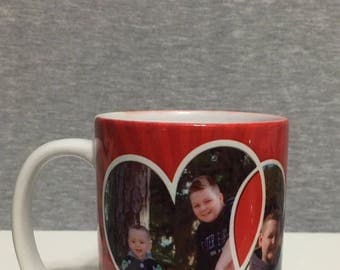Heart mug with two pictures