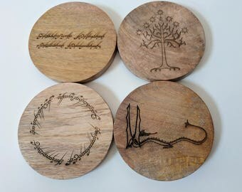 Tolkien coaster set - Lord of the Rings and The Hobbit - Laser engraved set of four mango wood coasters