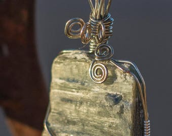 Healing Crystal - Kyanite Wire Wrapped Pendant