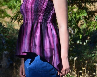 Women's Shirt / Summer Shirt / Purple and Pink Shirt / Shirred Shirt / Purple Striped Top
