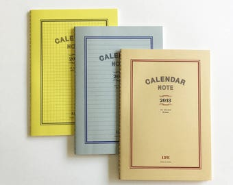 LIFE CALENDAR NOTE 2018 ( A5 - Plain / Ruled / Section )   japanese planner, journal   planner A5   japanese notebook   japanese stationery