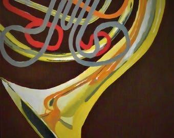 French Horn Acrylic Canvas