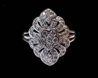 Solid White Gold Diamond Art Deco Dinner Ring