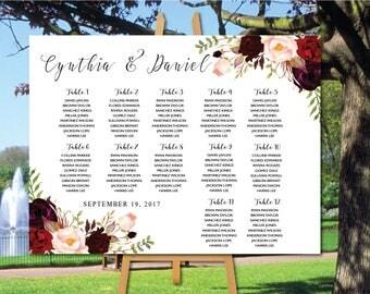PRINTABLE Wedding Seating Chart, Boho Flower Wedding Seating Chart, Wedding Table seating, Flower wedding seating chart,Find Your Seat, SC26