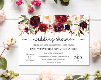 Wedding Shower Invitation, Fall Floral Bridal Shower Card, Couples Shower Invite, Editable Card Instant Download, Wedding Shower PDF #03