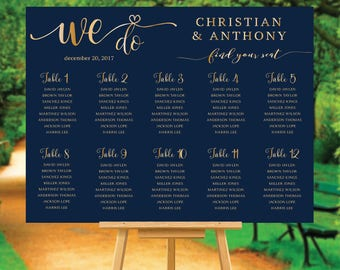 Wedding seating chart, Wedding seating chart template, wedding seating chart alphabetical, Navy seating chart, seating chart poster, #118-a