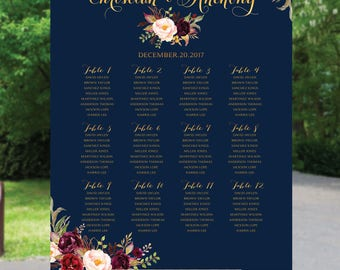 Wedding Seating Chart, Wedding seating template, Navy seating chart, Seating chart, seating chart poster, seating chart alphabet, #Navy123