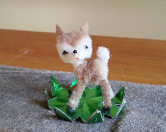 Vintage Flocked Fuzzy Fawn Baby Deer Miniature Made In West Germany Ornament Figurine Collectible