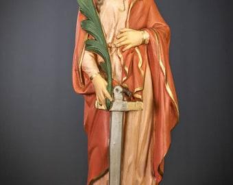 "RARE 18"" Large Saint Philomena Vintage Plaster Statue Antique St Virgin and Martyr Figure"