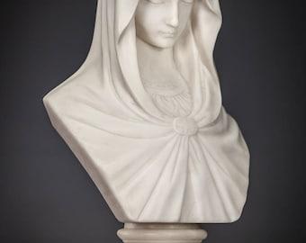 "RARE 15"" Antique Carved Alabaster Madonna Bust Statue Virgin Mary Sculpture Statue"