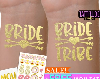 Bride Tribe Tattoos | bachelorette party tattoo, metallic temporary tattoo, gold foil tattoo, bridesmaid gifts, gold tattoo, favor, bridal
