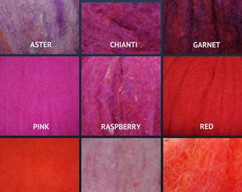 Harrisville Wool Fleece - The Reds - Wool Batt - Felting Fiber - Spinning Fiber - sold by the ounce