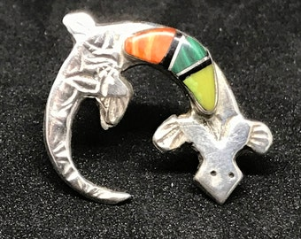 Vintage Old Pawn Navajo Sterling Silver Lizard Brooch with Gaspeite, Malachite, and Spiny Oyster Inlay Hallmarked
