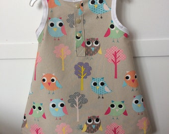 Handmade girls dress owl print