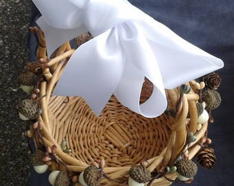 Flower girl basket, accented with acorns and pips