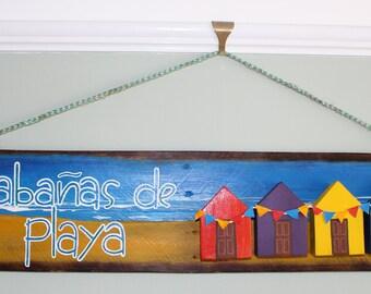 Acrylic beach hut wall art.  All materials Recycle. Wooden pallet