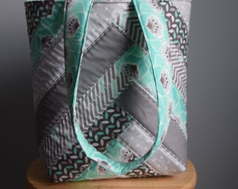 Homemade Quilted tote. Quilted bag. Quilted purse. Gray and Turquoise.